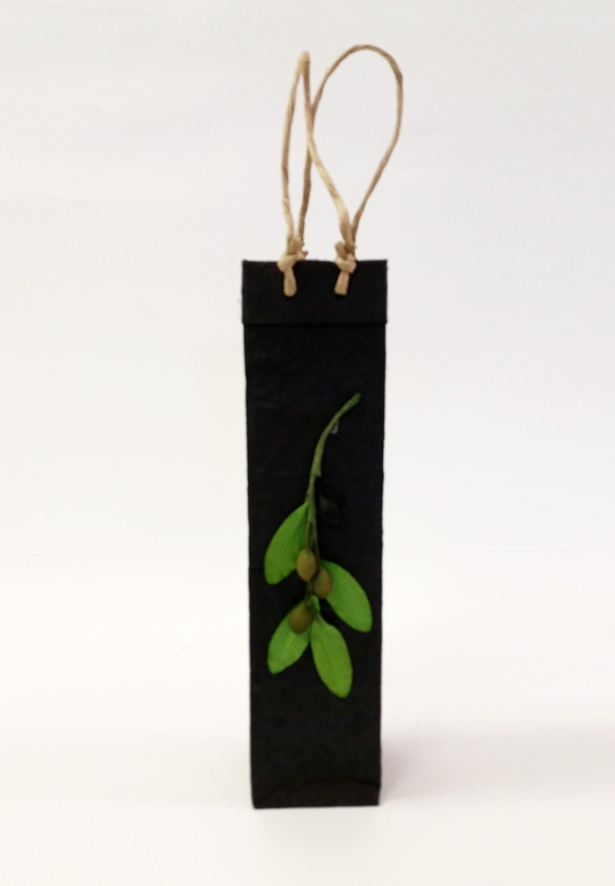 One-Bottle Olive Branch Gift Bag in Black