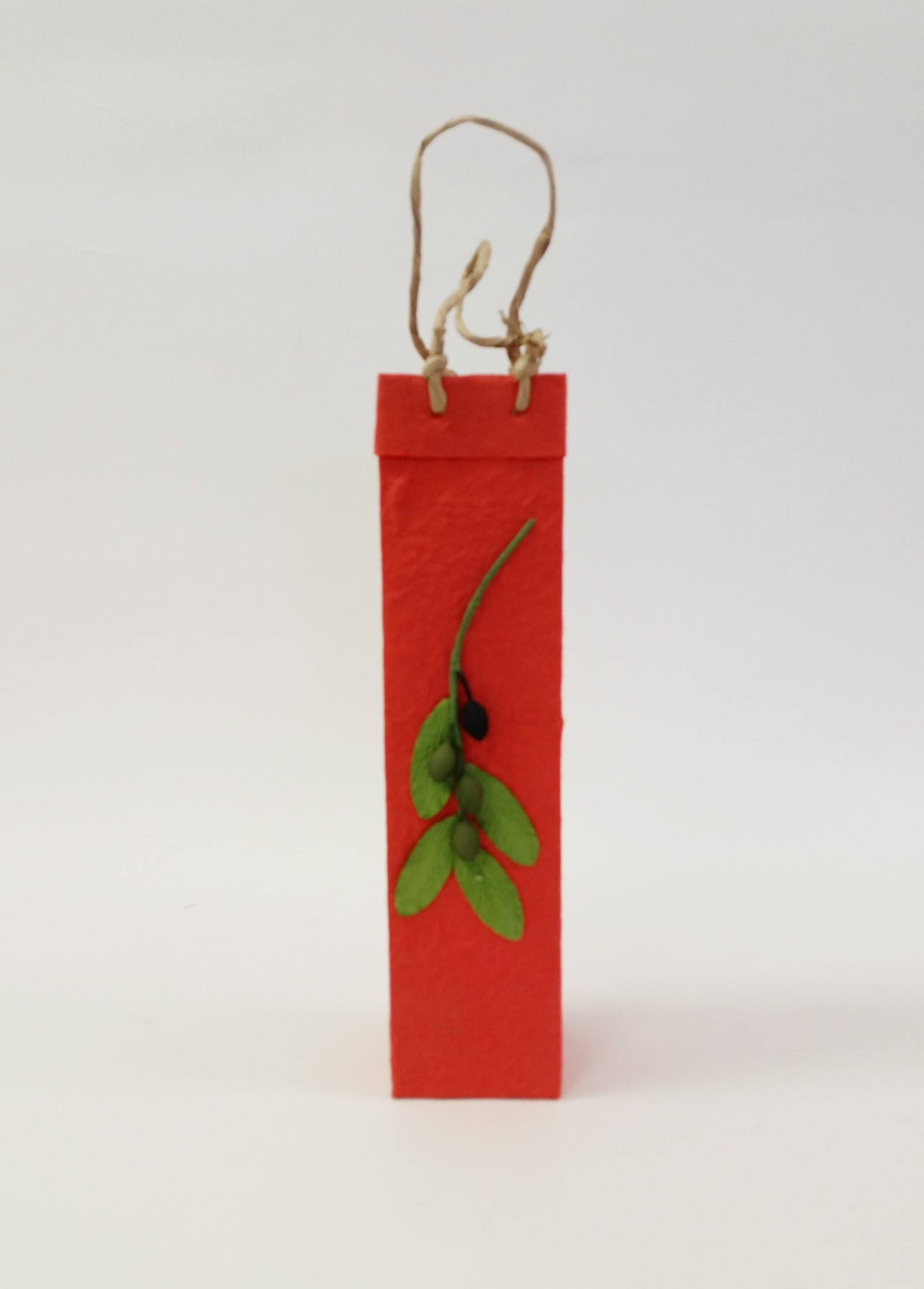 One-Bottle Olive Branch Gift Bag in Red