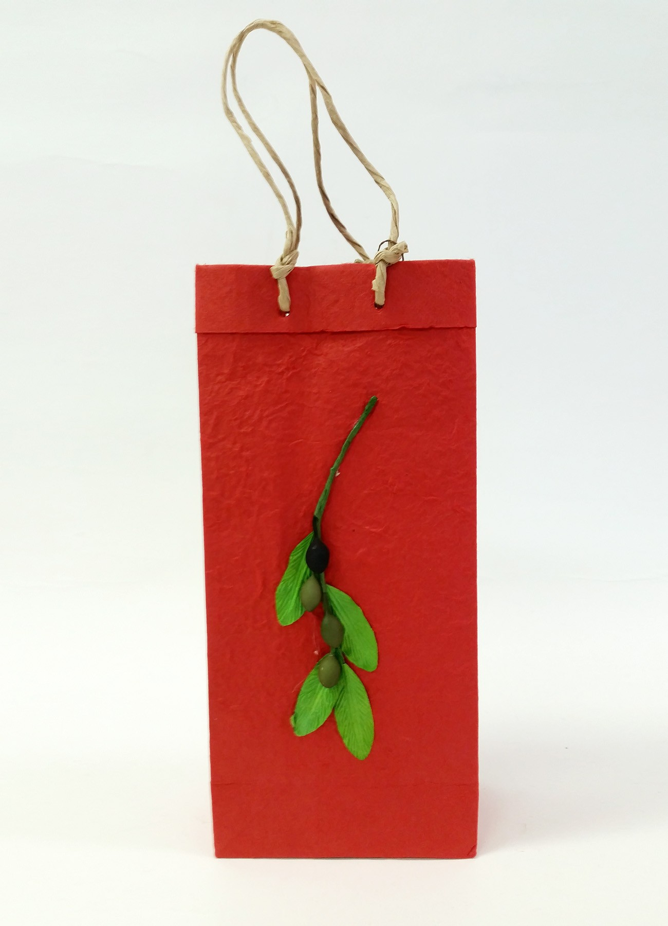 Two-Bottle Olive Branch Gift Bag in Red